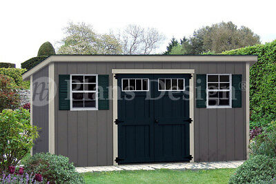 Storage Shed Plans 6' x 16'  Modern Roof style #D0616M, Material List Included