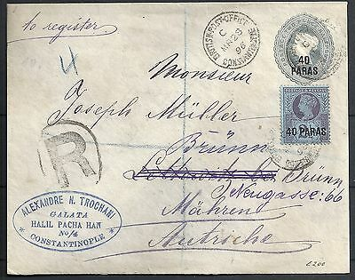 British Levant 1896 uprated Wandercover Constantinople to Brünn