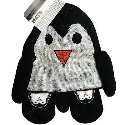 Baby Boys Penguin Knitted Design Hat and Mitt Set Black/White,6 - 23 Months