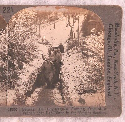 Stereoview card: French General De Puydraguen in Trenches