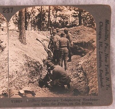 Stereoview card: French Artillery Observers on the Marne