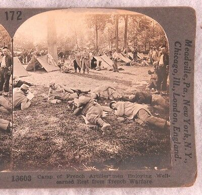 Stereoview card: French Artillerymen at Rest in Camp