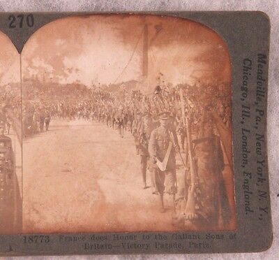 Stereoview card: British Troops in Victory Parade