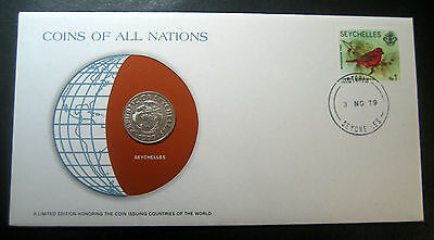 "1977 Seychelles 50 Cent coin in a Postmarked Cover! ""Coins of All Nations""!"