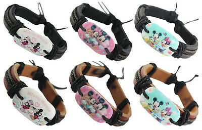 wd150 wholesale lots 6pcs Mickey mouse adjustable leather bracelet jewelry hot