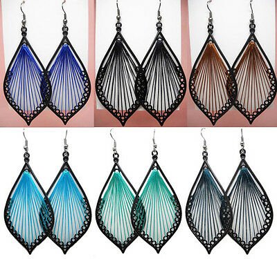 wt006 wholesale lots 6 pairs fashion decent leaf thread earrings dangle jewelry