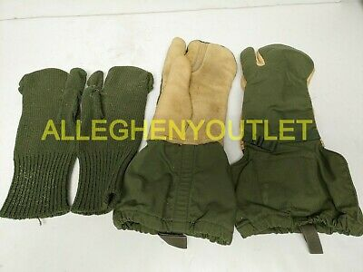 US Military TRIGGER FINGER MITTENS w/ WOOL INSERTS Hunting MED & LG NEW & USED