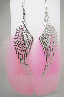 wf055 wholesale lots 6 pairs wing feather earrings vogue light dangle jewelry