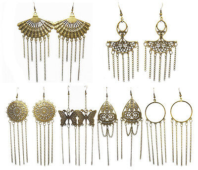 wc017 wholesale lots 6 pairs fashion cute dangle chandelier chain earrings
