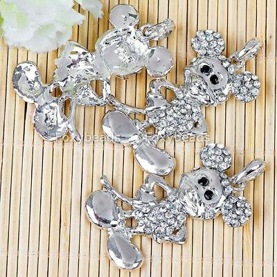 1P CLEAR CRYSTAL MICKEY*MOUSE SILVER PLATE GIFT PENDANT