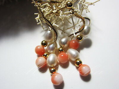Genuine Solid 14k  Triple Dangle Kinetic Earring-Hawaii Natural Pink Coral