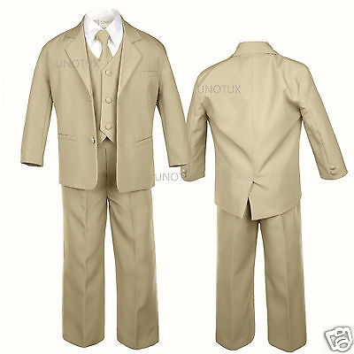 5pc Khaki Baby Toddler Teen Boys Wedding Formal Vest Necktie Tuxedo Suits S-20
