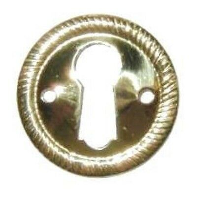 "Stamped Solid Brass Keyhole Escutcheon With Rope Edge, 1"" Diameter, E-2"