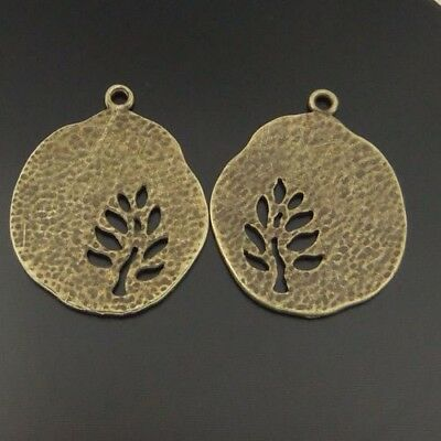 20X Vintage Style Bronze Tone Alloy Round Hollow Tree Pendant Charms 25*25*16mm