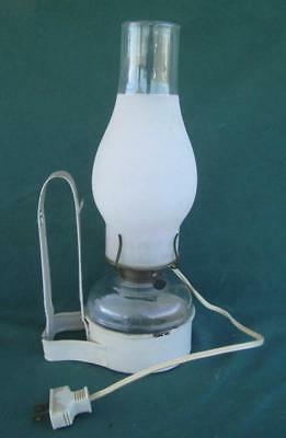 Vintage Wall Hanging Oil Kerosine Lamp W/ Bracket Frosted Glass Chimney Electic