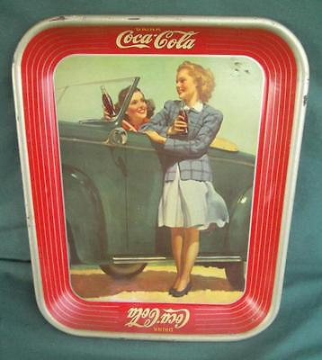 Vintage 1942 Drink Coca Cola Two Ladies Enjoying A Coke Jalopy Serving Tray