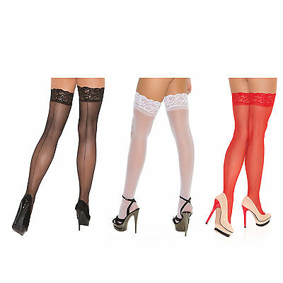 Sheer Thigh High Hi with Lace Top Back Seam Nylons Stockings Hosiery 1702