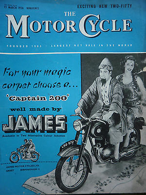 """THE MOTORCYCLE"" 13/03/1958 VINTAGE MAGAZINE - JAMES CAPTAIN 200 COVER"