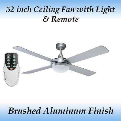 52 inch (1300mm) Silver Ceiling fan with Light and Remote