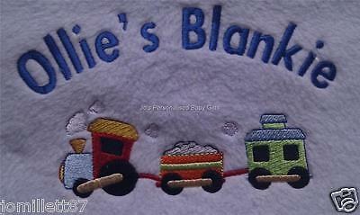Personalised Baby Boys Blanket with Train Design- Gift
