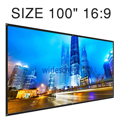 """Projector Projection Screen 100"""" 16: 9 Portable, Collapsible Wall Ceiling Mount"""