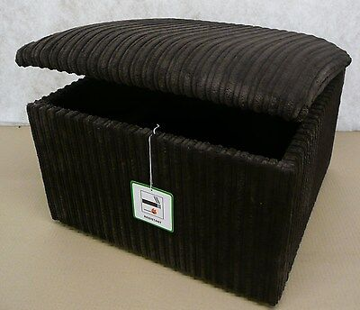 Large Brown Jumbo Cord Fabric Pouffes/ Storage Box/ Footstools
