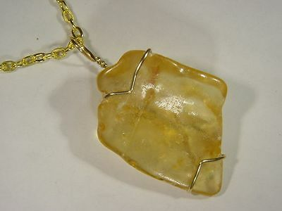 BUTW handmade gold filled wire wrap amber pendant necklace 9907C tle