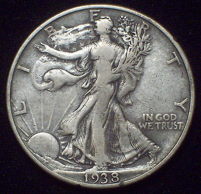 1938 D Silver WALKING LIBERTY HALF DOLLAR KEY Date SCARCE VF+ Authentic 50C Coin
