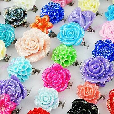 30pcs Beautiful Resin Flower Rings Wholesale jewelry lots Mix style Adjustable