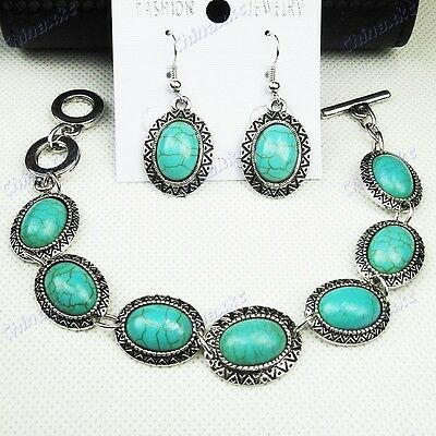 Vintage silver Top Turquoise Earring and Bracelet fashion Set Wholesale Jewelry