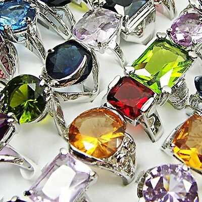 10PCS Crystal Zircon Silver Mix Fashion Ring Wholesale Jewelry Lots Freeshipping