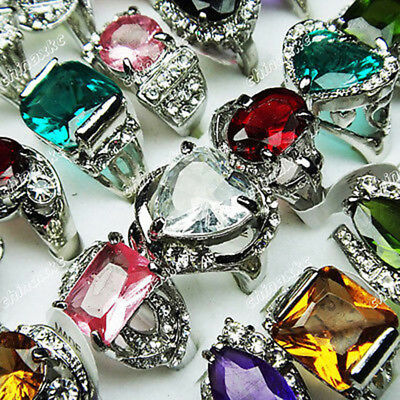 Wholesale jewelry 10pcs crystal Zircon Rhinestones silver p Rings mixed lots