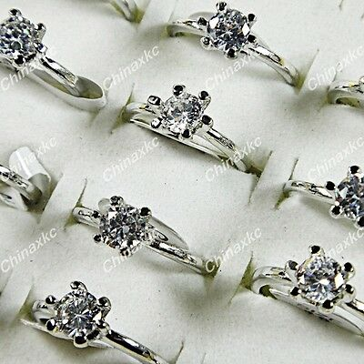 Wholesale jewelry lots 10pcs 100% Pure Zircon silver Fashion Rings freeshipping