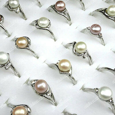 10pcs Natural freshwater pearl Rhinestone Woman Rings Wholesale Jewelry Lots