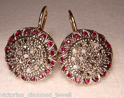 ANTIQUE  0.80CT ROSE CUT DIAMOND & RUBY EARRINGS, Free Shipping Worldwide