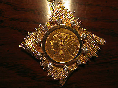 1911 Gold 2.5 Dollar Indian Head Quarter Eagle Mounted as Necklace in 14k Gold