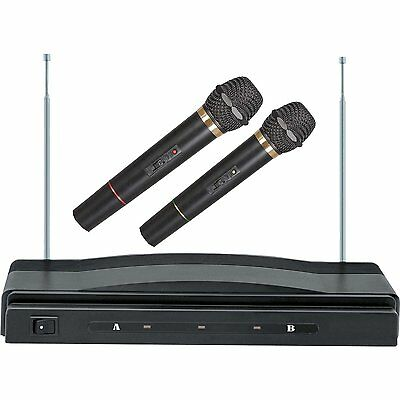 Karaoke Dj Pro Dual 2 Mic Vhf Cordless Wireless Microphone System New
