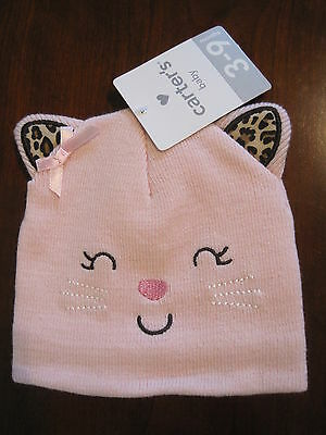 6aa659287 New NWT Carters Girls Kitty Cat Pink Lined Sweater Knit Hat Size 0-3 months