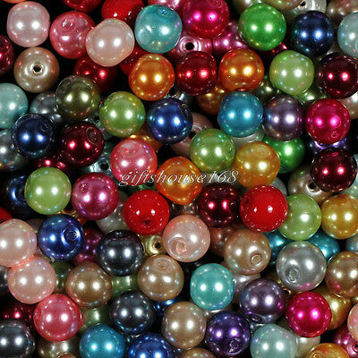 100pcs 8mm Mixed Glass Pearl Round Ball Loose Spacer Beads,approx 25 Color!