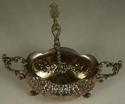OLD ANTIQUE MASTER SELLAR CAVIAR SUGAR STERLING SILVER 84 REPOUSSE SPOON BOWL US