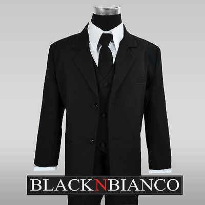 Boys Tuxedo Suit in BLACK formal dress wear for kids of all ages Size Small - 20