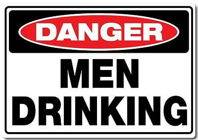 Men drinking sticker 290mm quality water & fade proof vinyl man cave bar beer