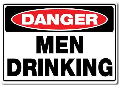 Men drinking sticker large 300mm x 210mm man cave bar beer