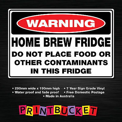 Home brew fridge sticker 290mm x 190mm water & fade proof quality vinyl
