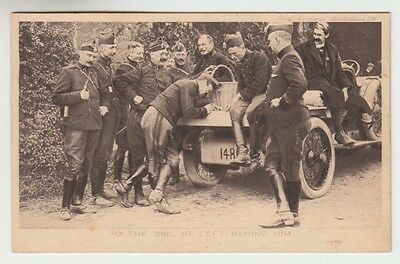 Postcard: Military - WWI era Belgian Officer with Automobile