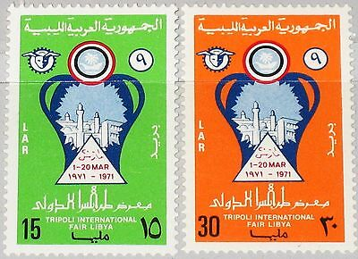 LIBYEN LIBYA 1971 325-26 407-08 9th Intl. Fair Tripoli Messe Emblem MNH