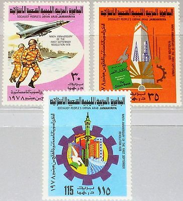LIBYEN LIBYA 1978 655-57 742-44 9th Ann Sep. Revolution Soldier Warship MNH