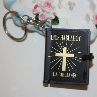 New MINI Holy BIBLE MINIATURE KEY CHAIN Keyring VBS Christian Jesus Black Cover