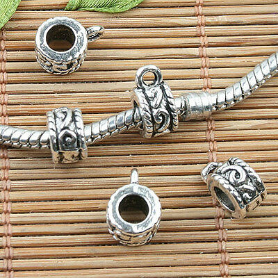 Alloy metal Tibetan Silver color round spacer bail charms 20pcs EF0006