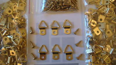 "50 Small Brass Plated Triangle D-Ring Picture Hangers 50 #6 1/2"" Screws + Sample"